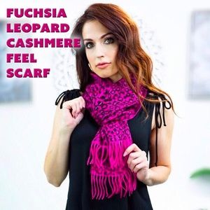 Fuchsia Leopard Cashmere Feel Scarf